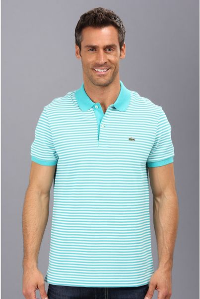 Lacoste short sleeve heritage fine stripe pique polo shirt for Lacoste stripe pique polo shirt