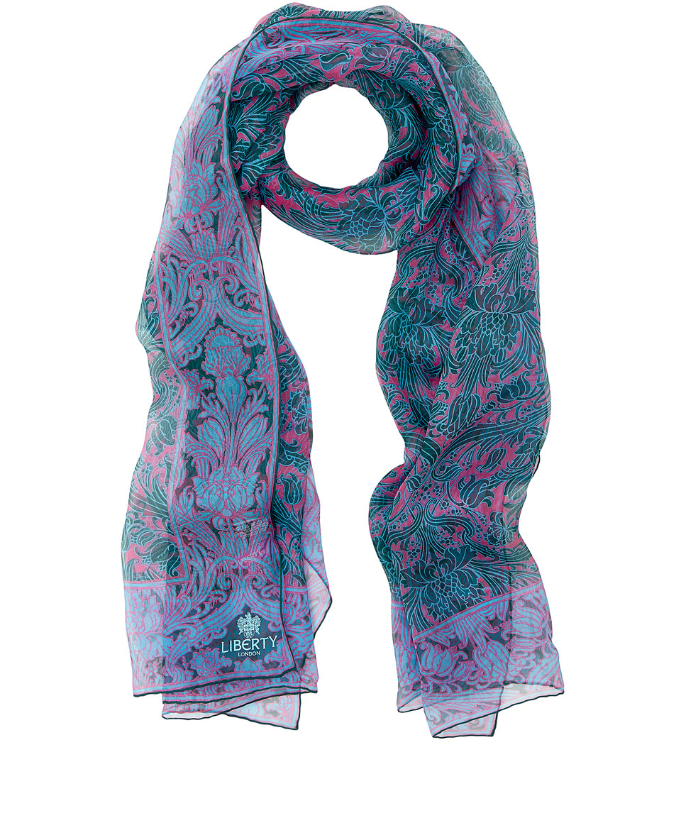 liberty green morris flower silk chiffon scarf in green lyst