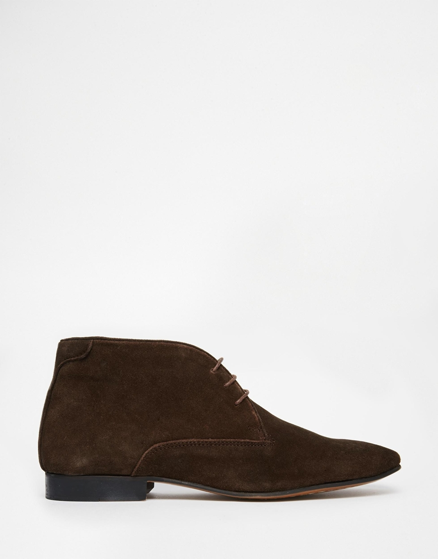 asos lace up boots in suede in brown for lyst