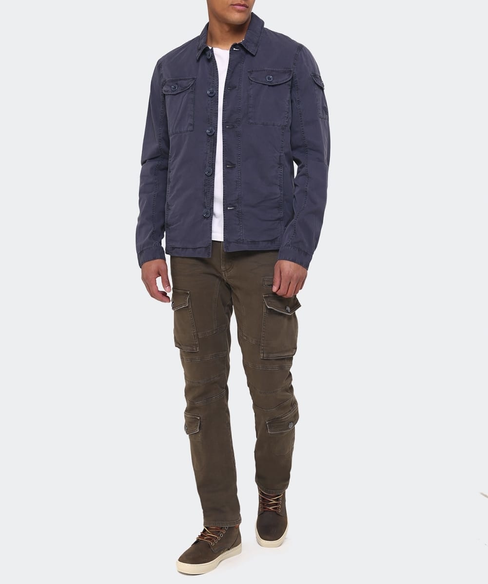 armani cotton jacket in blue for lyst