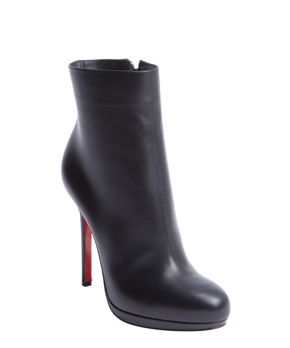 cost of christian louboutin shoes - Christian louboutin Black Leather Side Zip Heel Boots in Black | Lyst