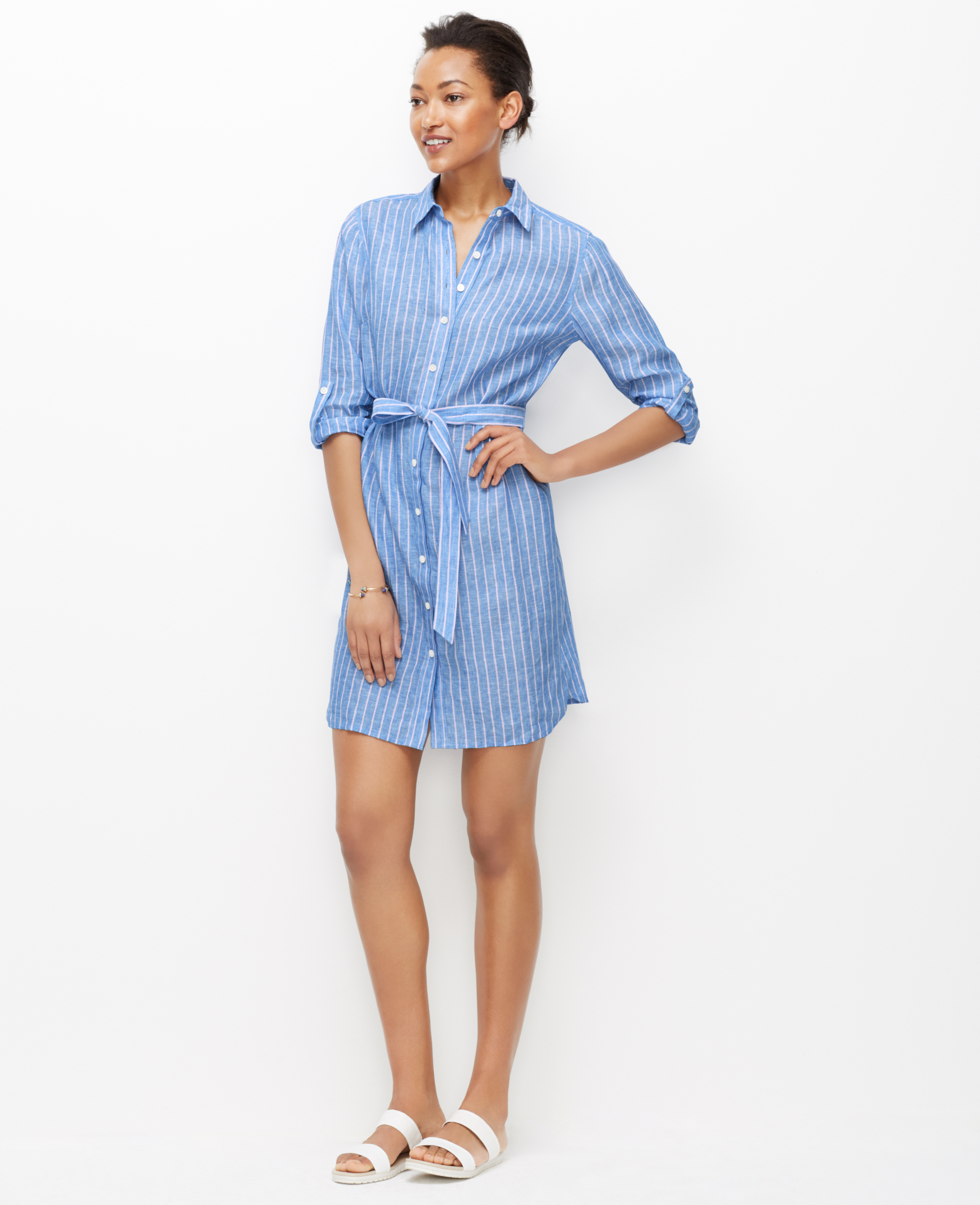 Ann taylor Striped Linen Shirtdress in Blue | Lyst