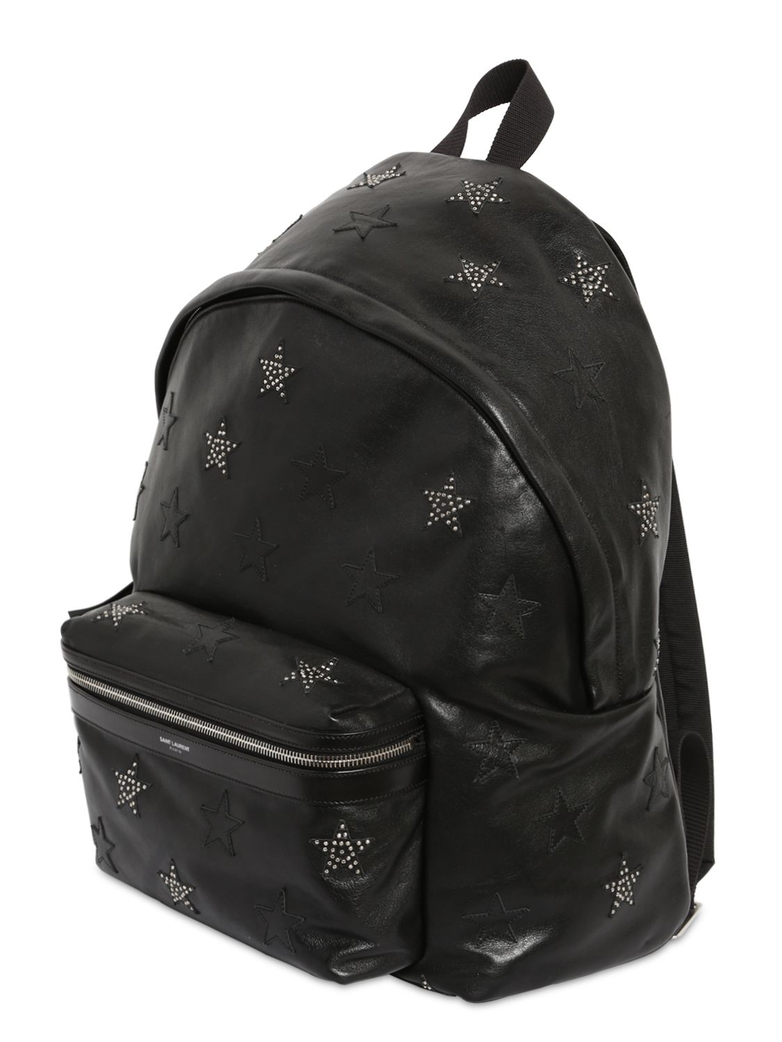 Saint laurent Stars Patch & Studs Leather Backpack in Black for ...