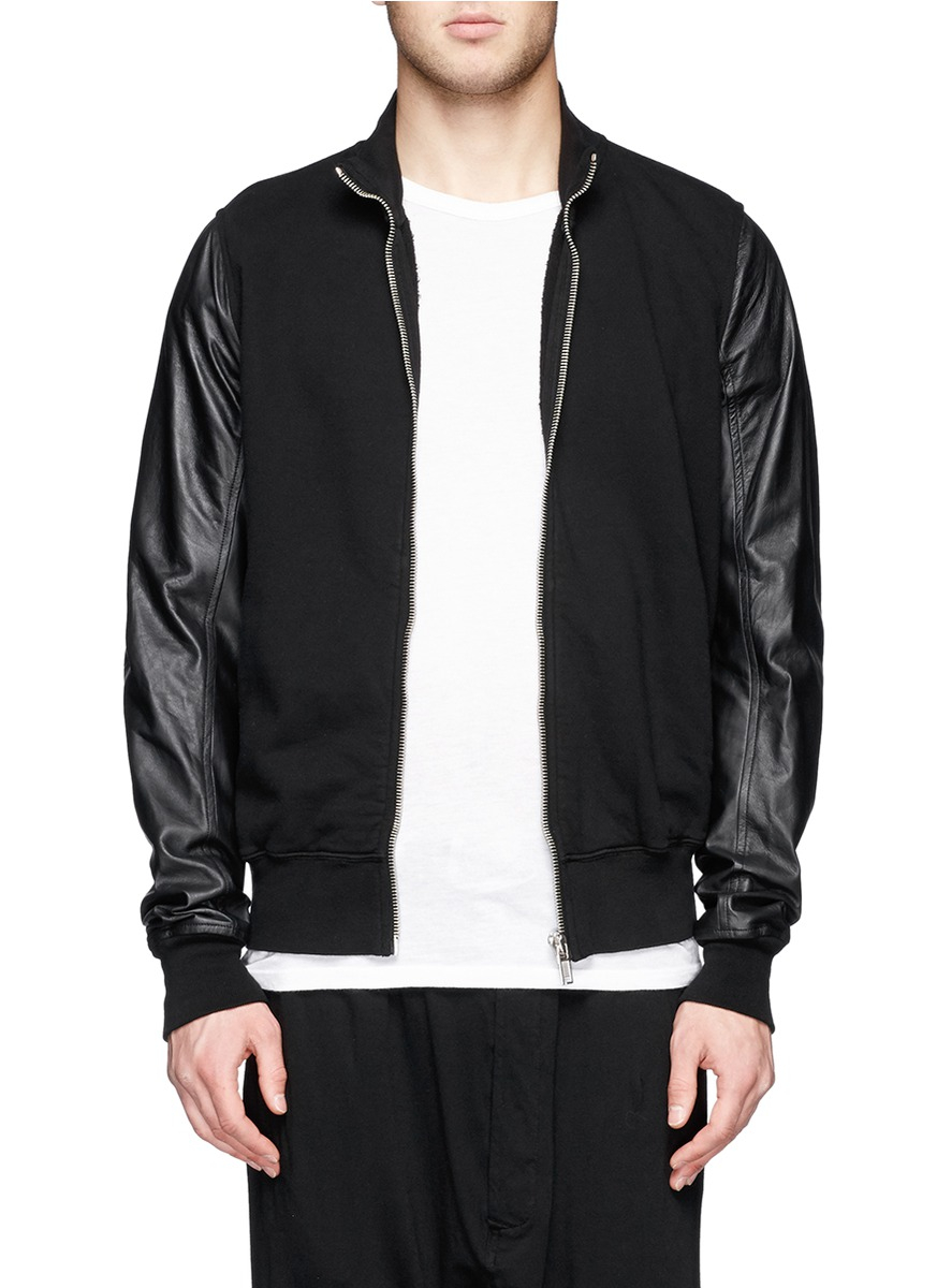 Drkshdw by rick owens Leather Sleeve Zip Front Bomber Jacket in ...