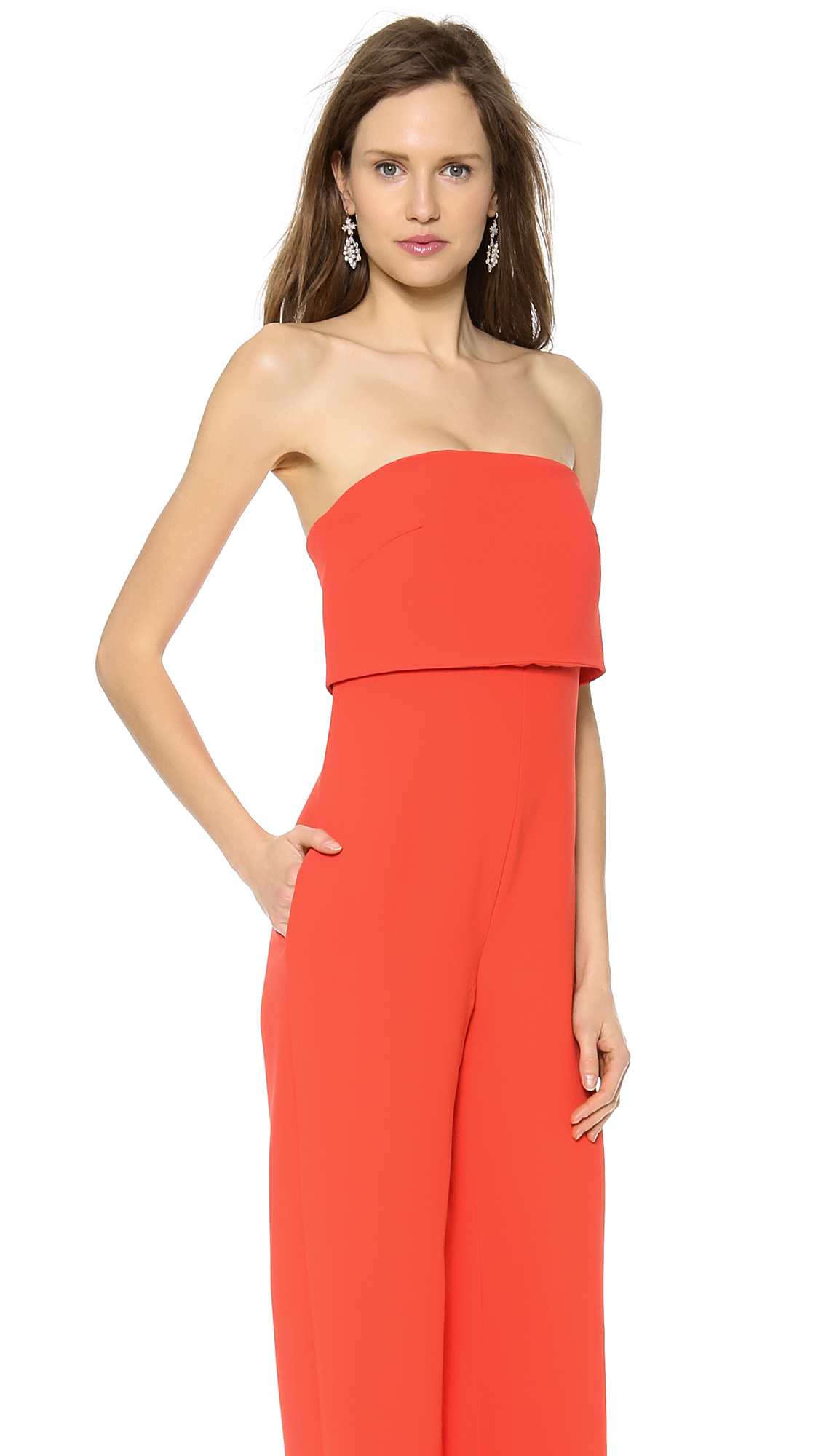 Monique lhuillier Strapless Jumpsuit Poppy in Red | Lyst