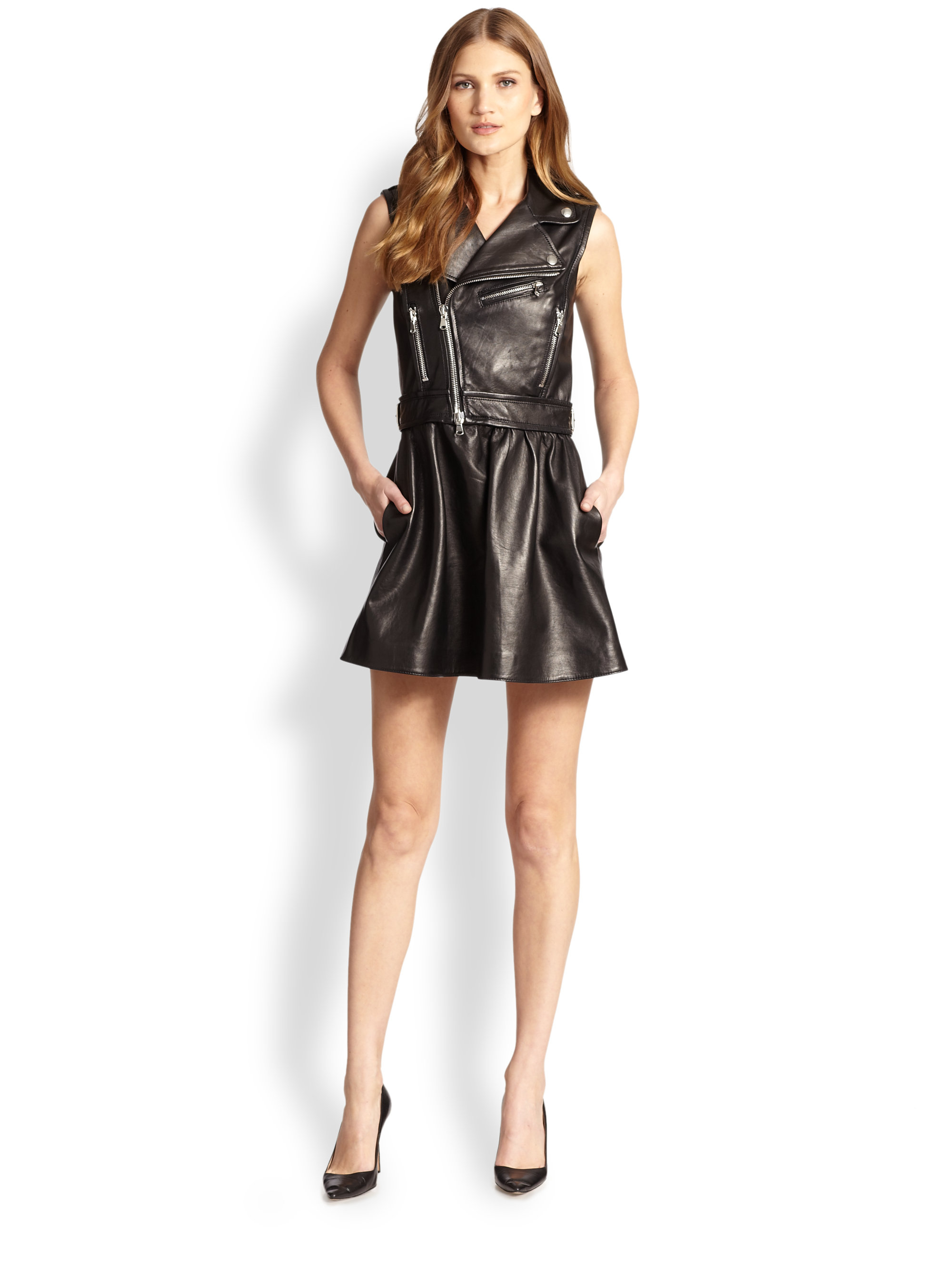 RED Valentino Leather Moto Jacket Dress in Black - Lyst