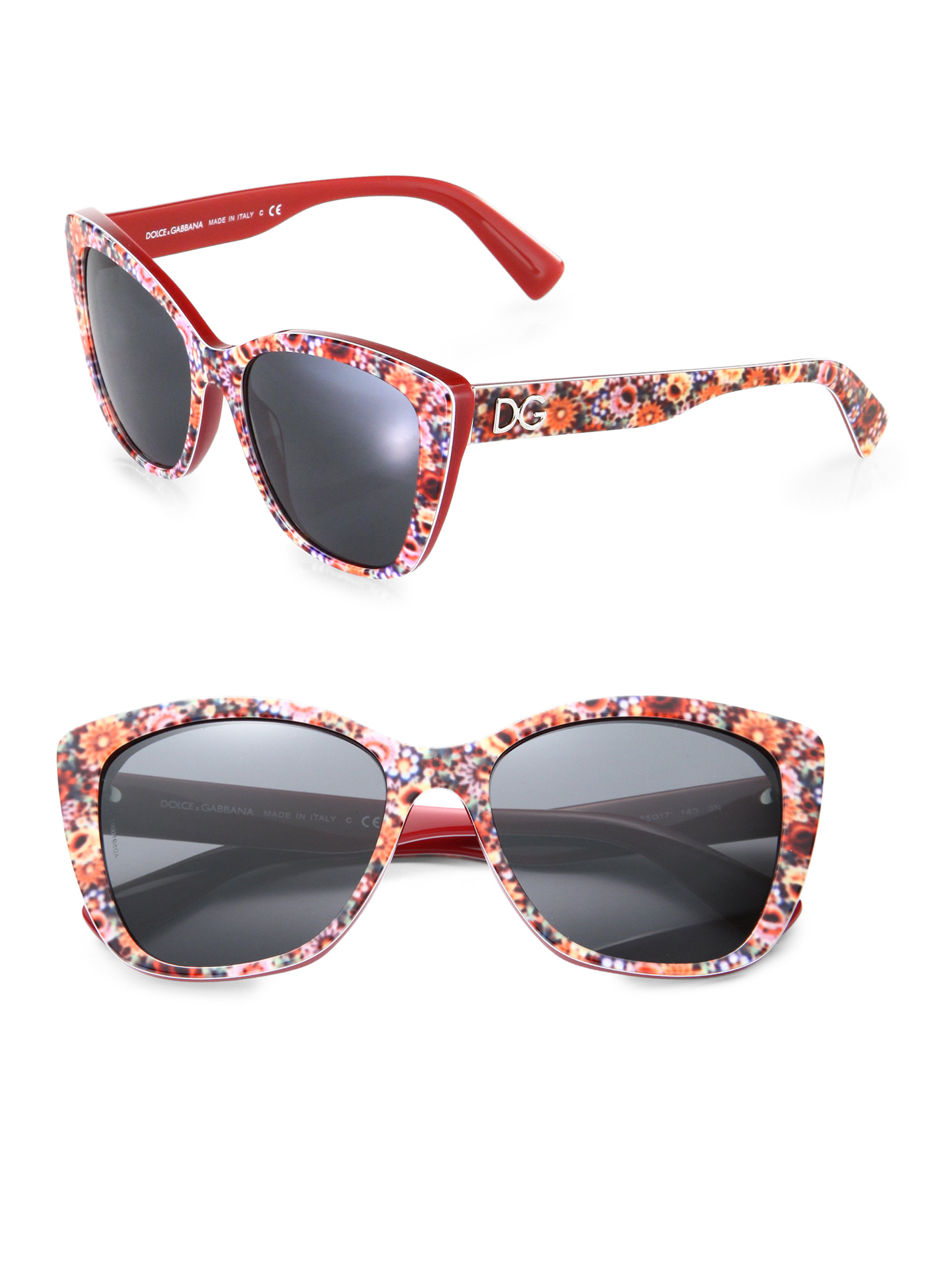 b5619847b8e Lyst - Dolce   Gabbana Floralprinted Modified Catseye Sunglasses in Red
