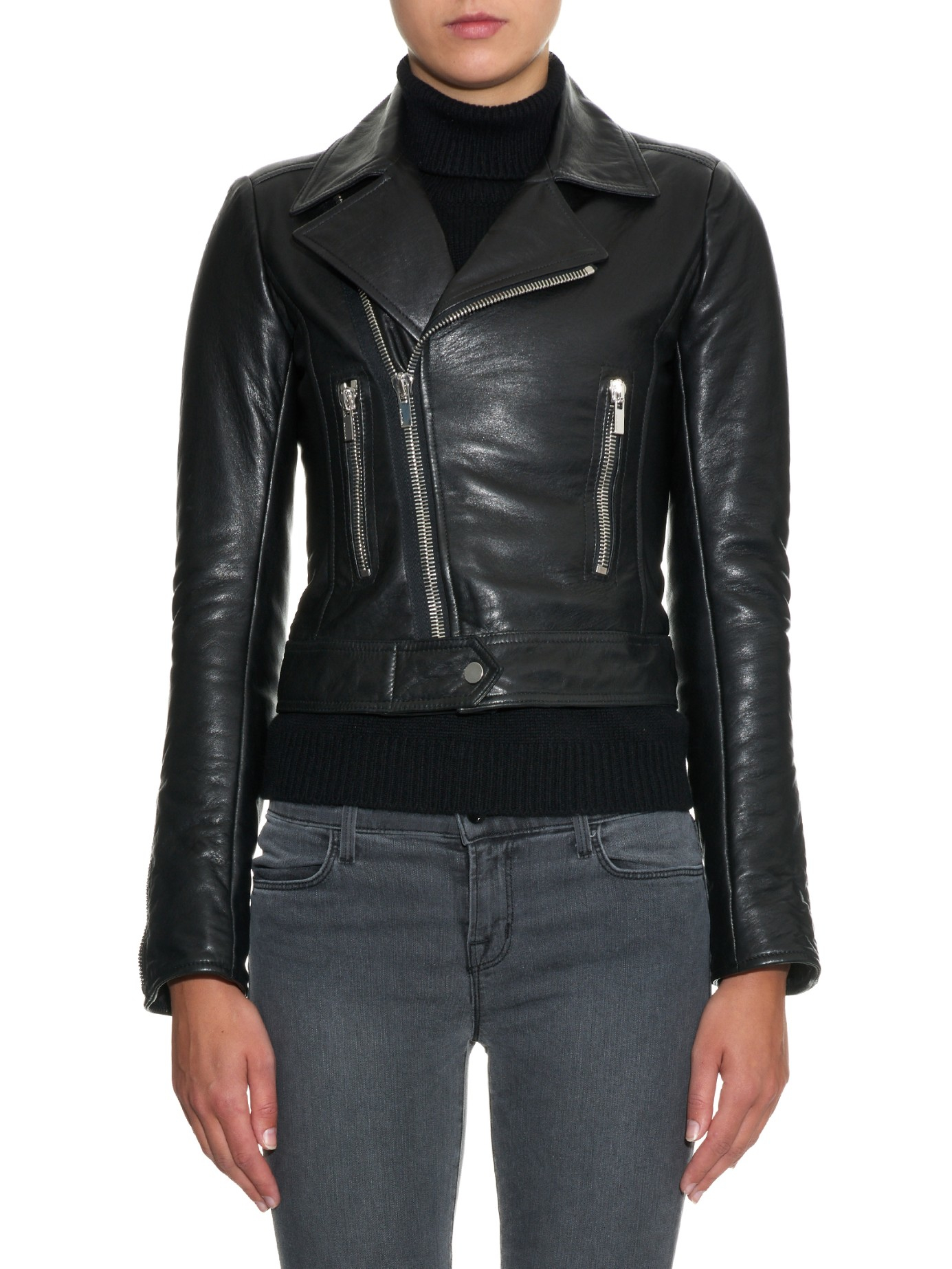 balenciaga classic leather biker jacket in black lyst