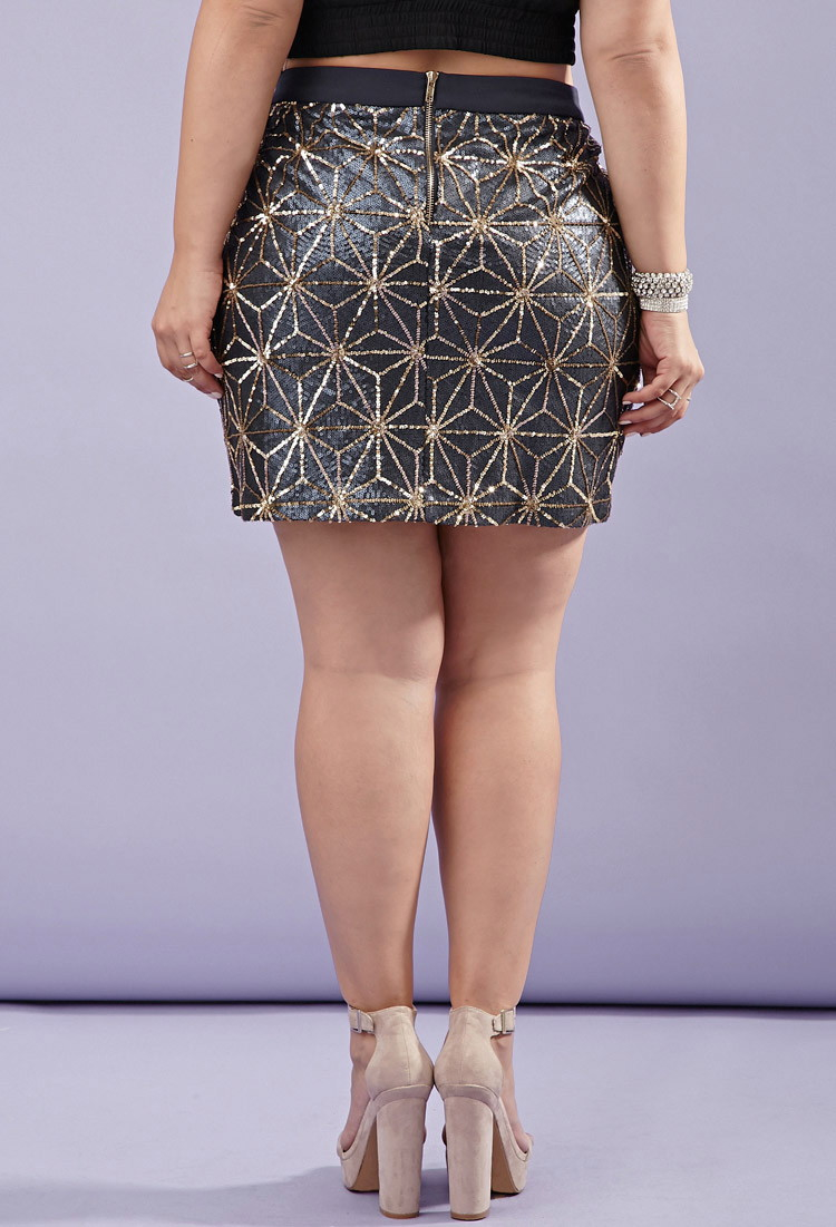 deeaaff0bee0 Forever 21 Plus Size Sequin Star-pattern Skirt You've Been Added To ...