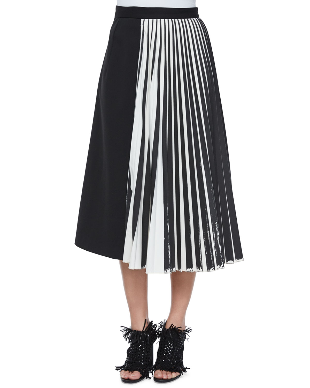 proenza schouler half knife pleated midi skirt in black lyst