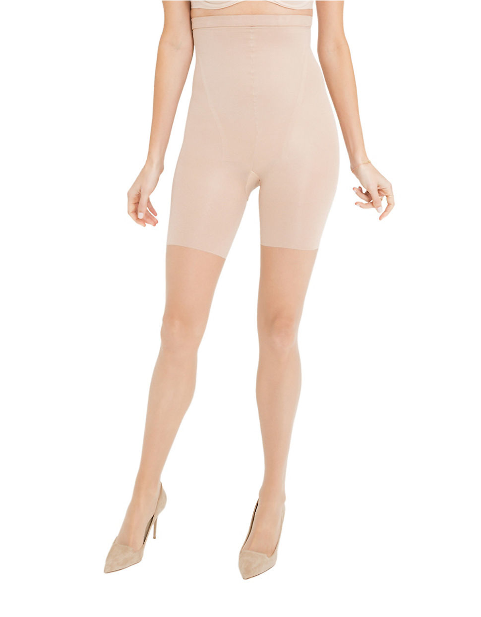 spanx in power line high waist super shaping sheer pantyhose in pink lyst. Black Bedroom Furniture Sets. Home Design Ideas