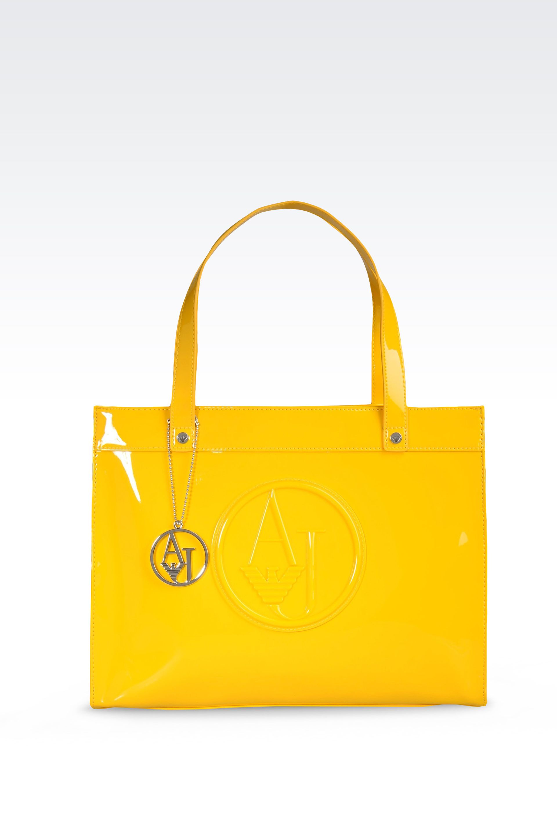 Armani jeans Eco Patent Leather Shopping Bag with Charms in Yellow ...