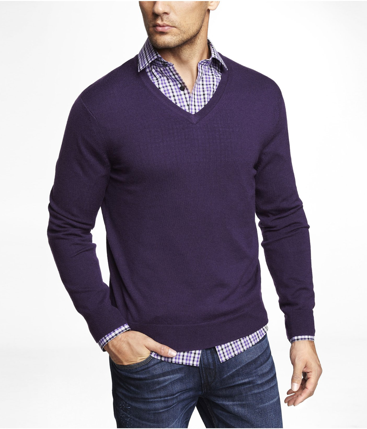 Express Merino Wool Vneck Sweater in Purple for Men | Lyst