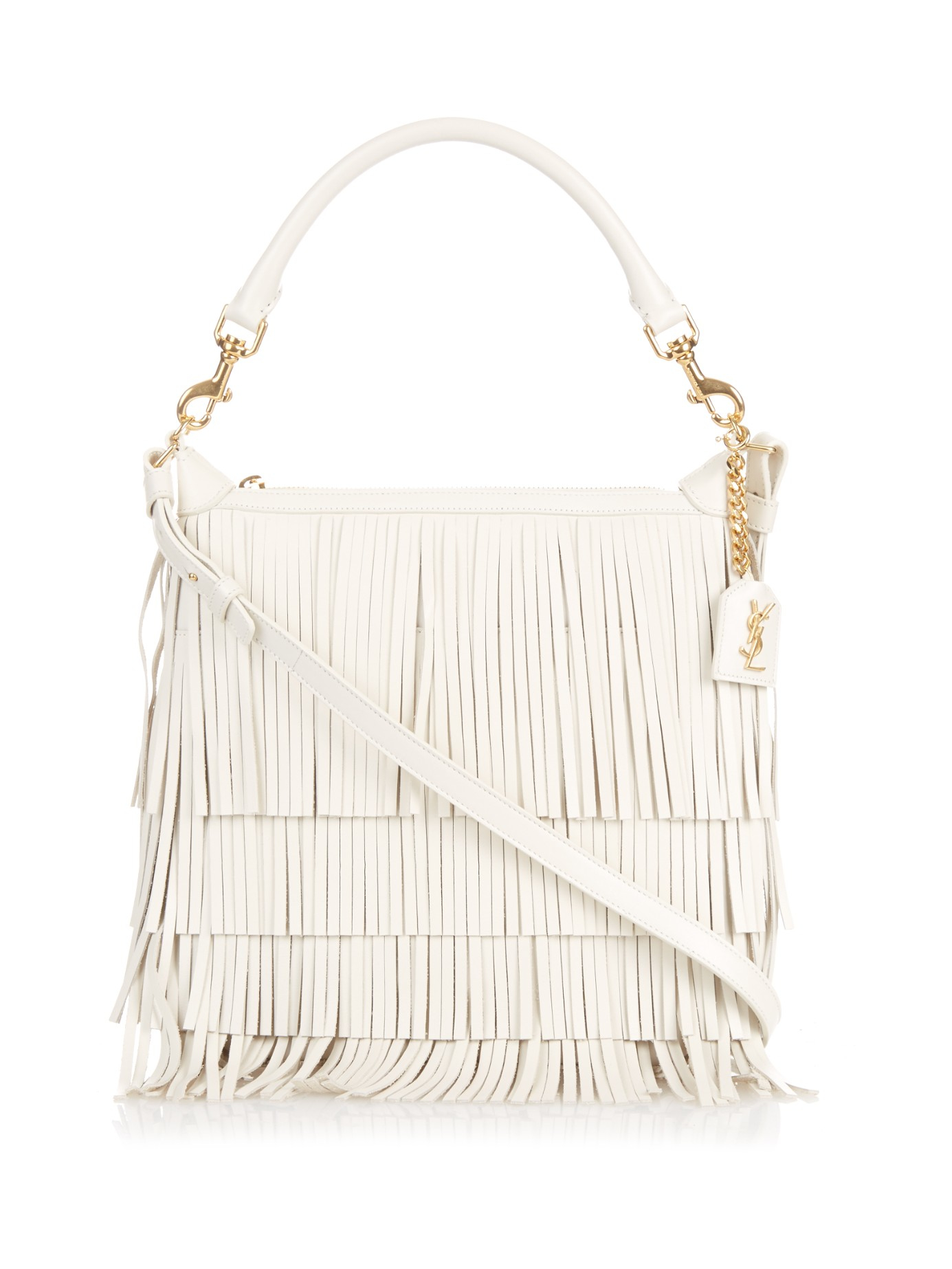 Saint laurent Emmanuelle Fringed-leather Cross-body Hobo Bag in ...