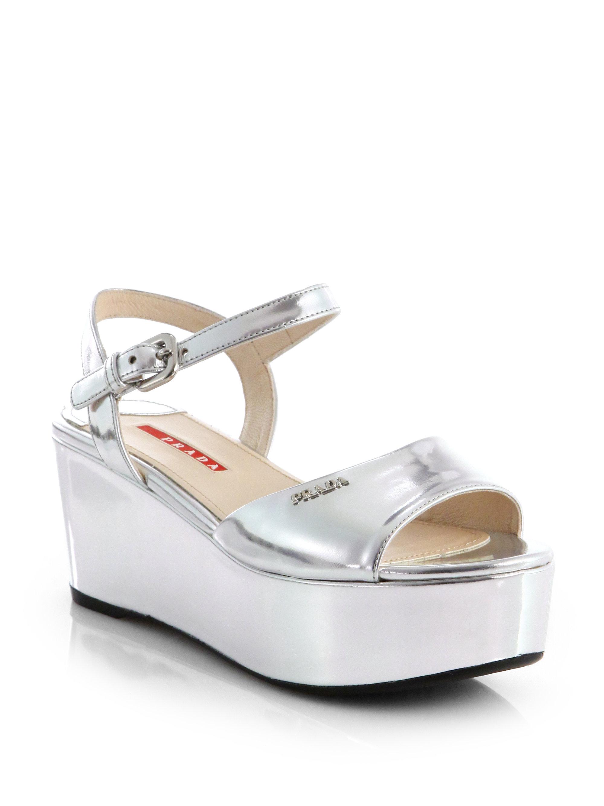 prada metallic leather platform wedge sandals in silver