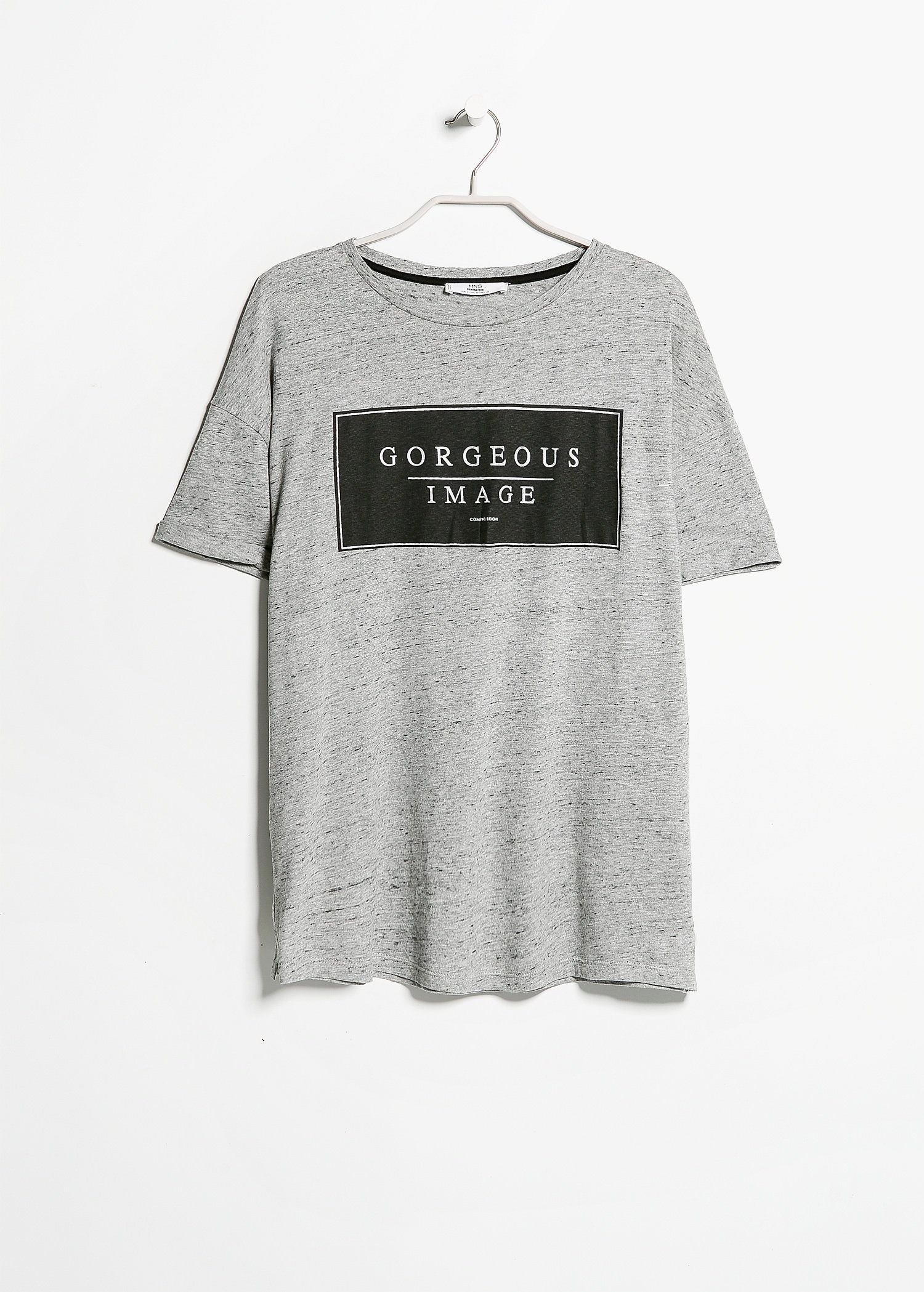 mango printed message t shirt in gray lyst. Black Bedroom Furniture Sets. Home Design Ideas