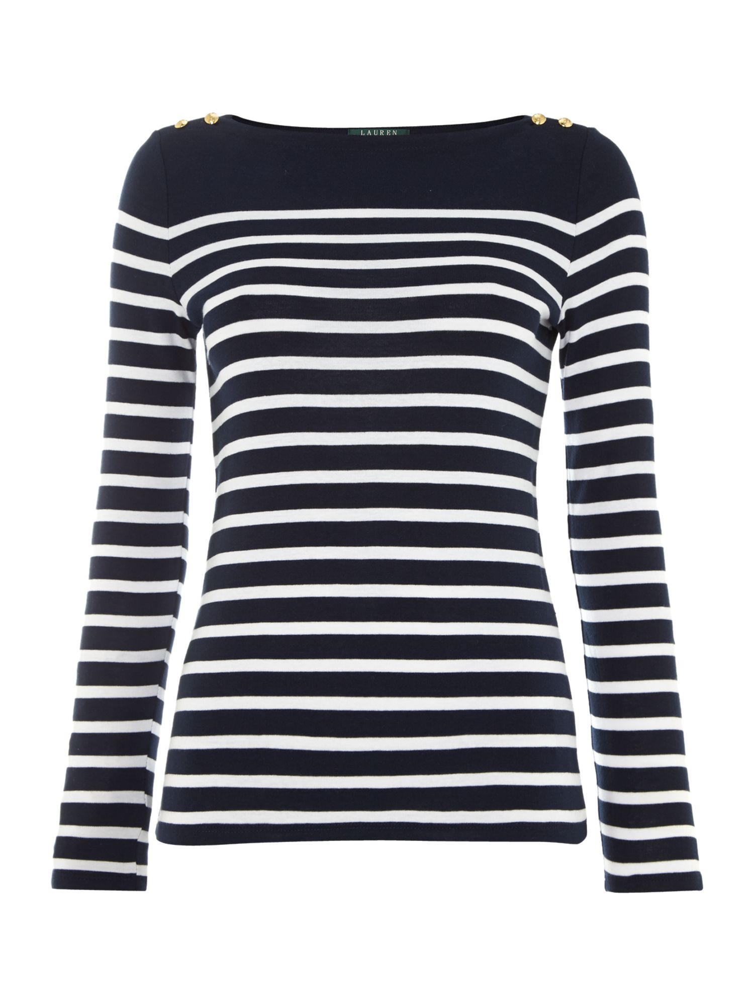 Blue And White Striped Tops
