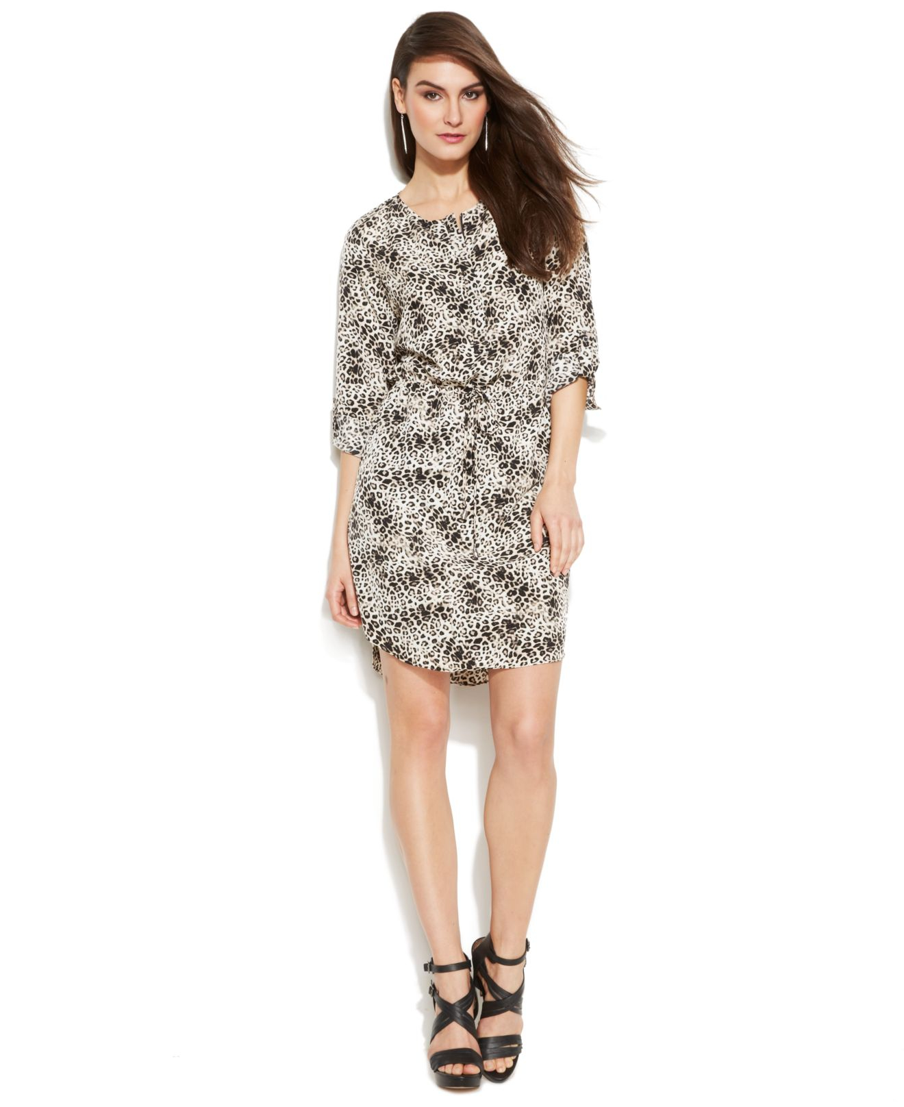 48ca12917816 Lyst Vince Camuto Roll Tab Sleeve Leopard Print Shirtdress In White