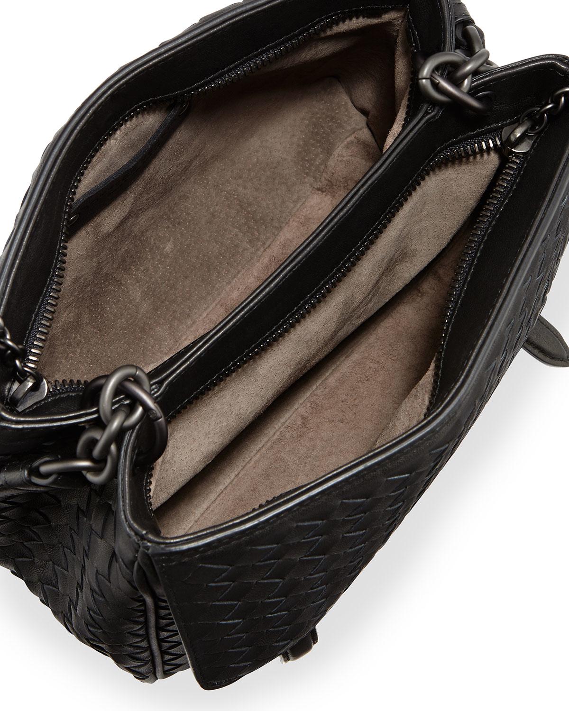 5db578d50111 Lyst - Bottega Veneta Intrecciato Medium Flap-tab Bag in Black