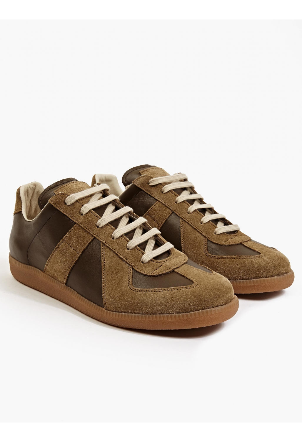 maison margiela leather sneakers brown in brown for men lyst. Black Bedroom Furniture Sets. Home Design Ideas