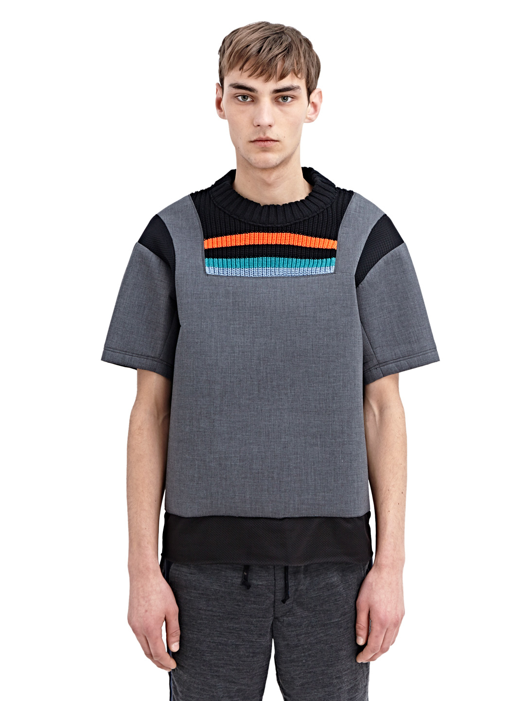 lyst kolor mens high tech crew neck t shirt in gray for men