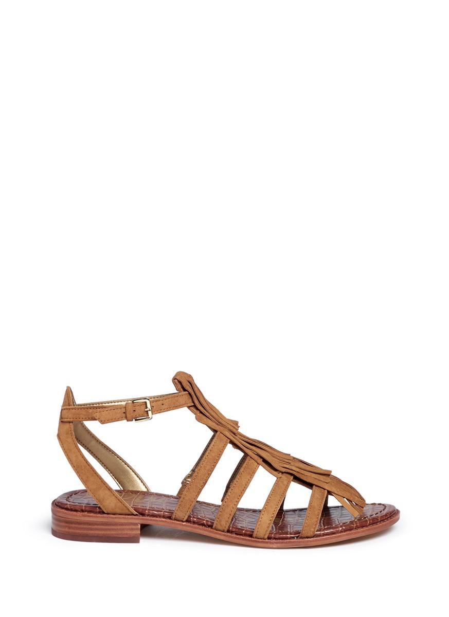 b9b3c2b3e1caef Sam Edelman  estelle  Fringe Caged Suede Sandals in Brown - Lyst