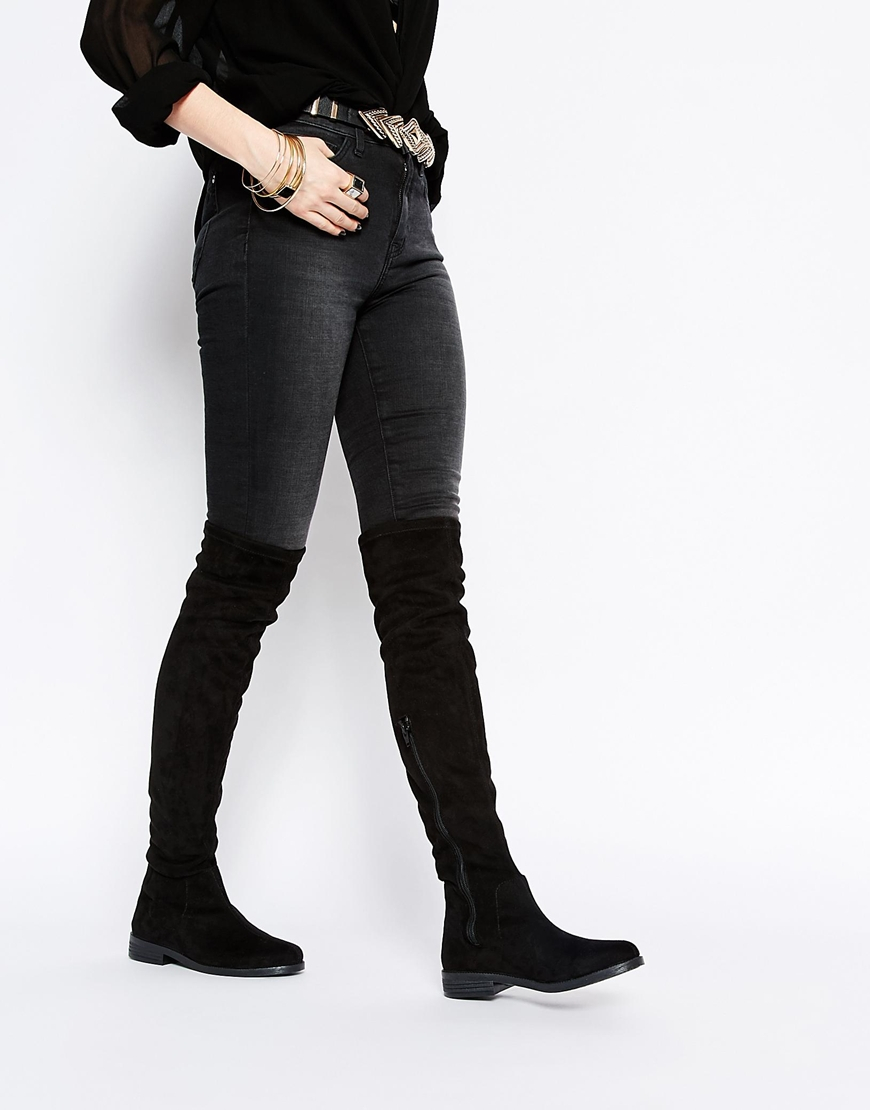 f99e01cfb78 Lyst - ASOS Keeper Flat Over The Knee Boots in Black