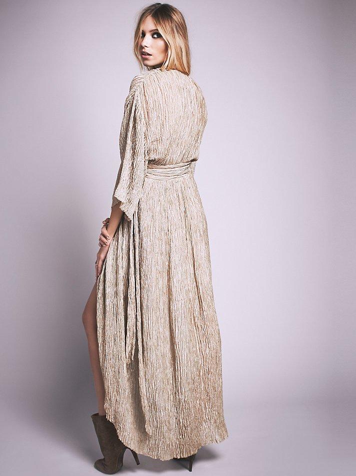 3ed8e6f140f48 Lyst - Free People Crinkle Silk Wrap Dress in Brown