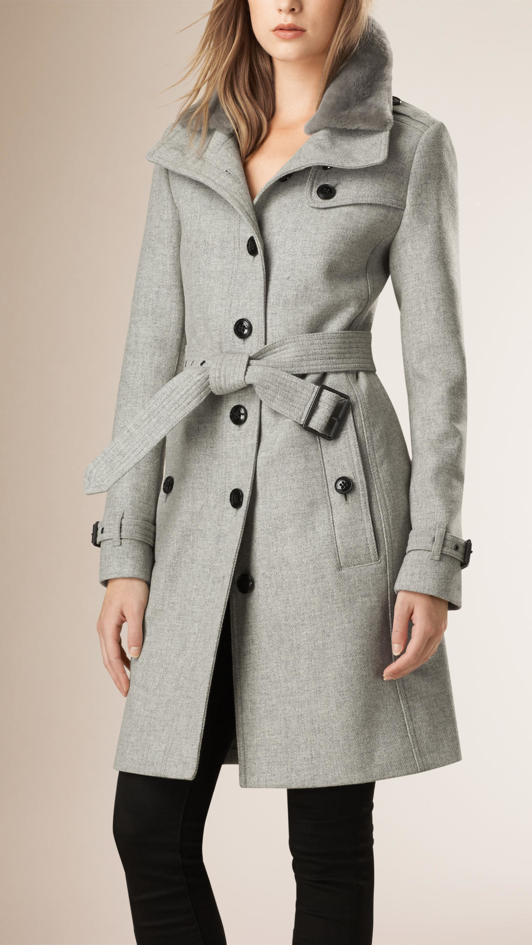 Burberry Wool Blend Trench Coat With Shearling Collar in Gray | Lyst