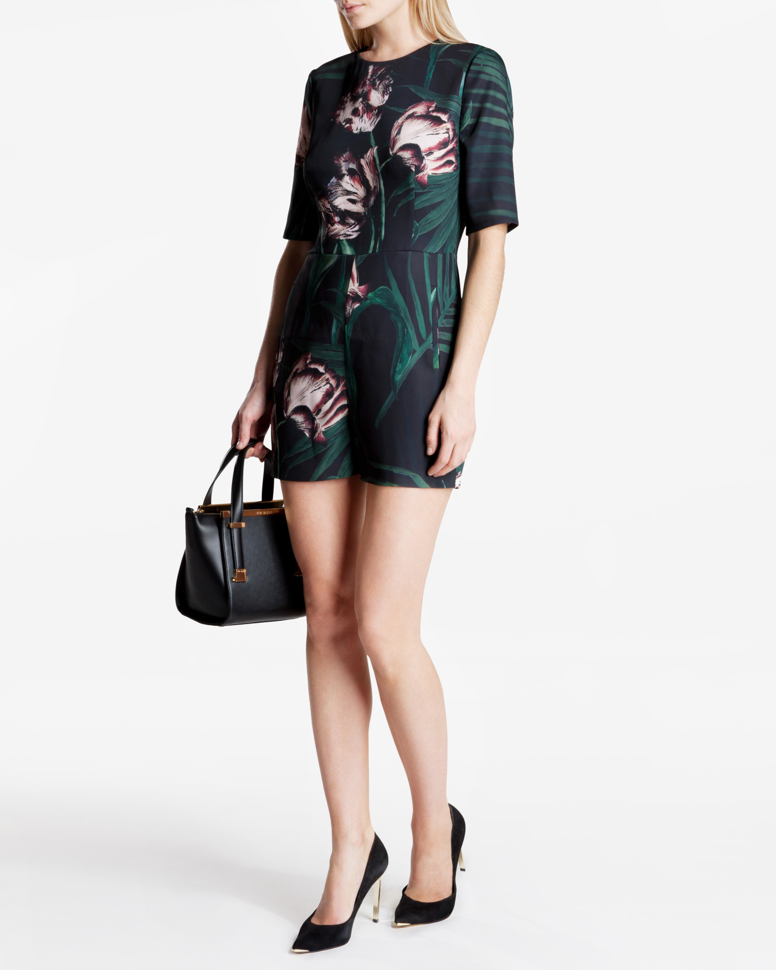 6a5b4d2265c1f Ted Baker Sarena Palm Floral Print Playsuit in Black - Lyst