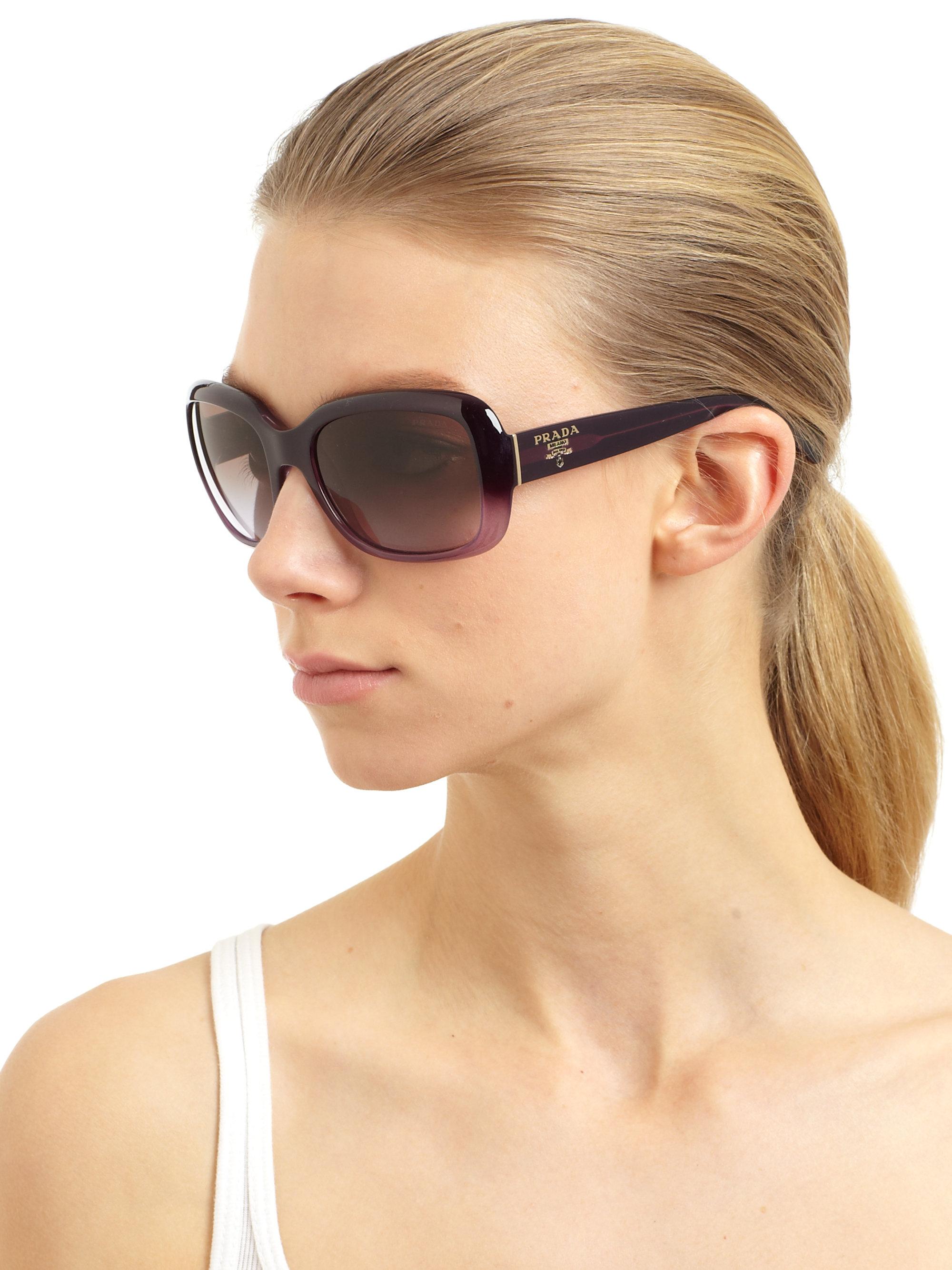 62ad354507abd ... reduced lyst prada oversized square glam sunglasses in purple 4c0ec  0c1c2