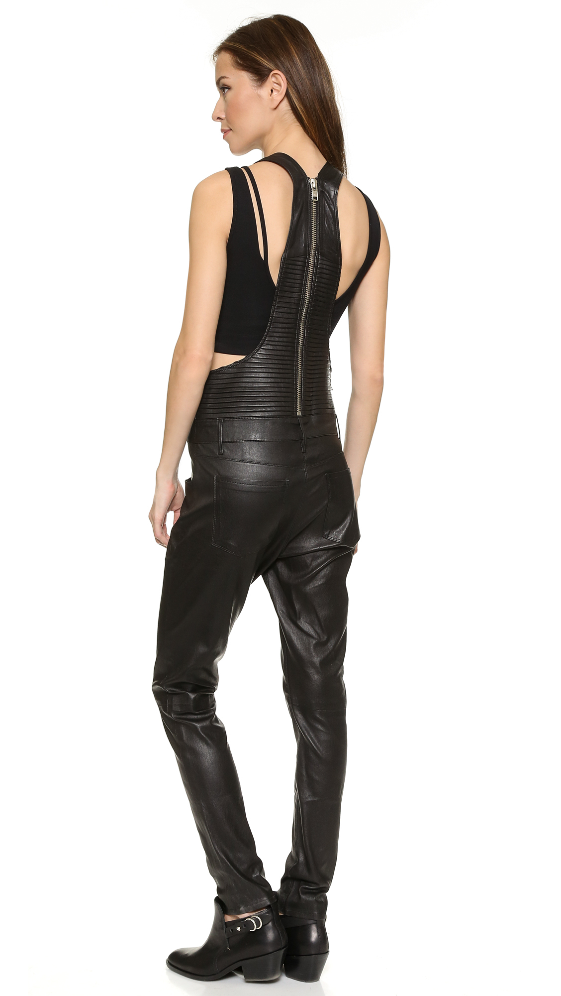 Lyst Rta Pleated Leather Overalls Black In Black