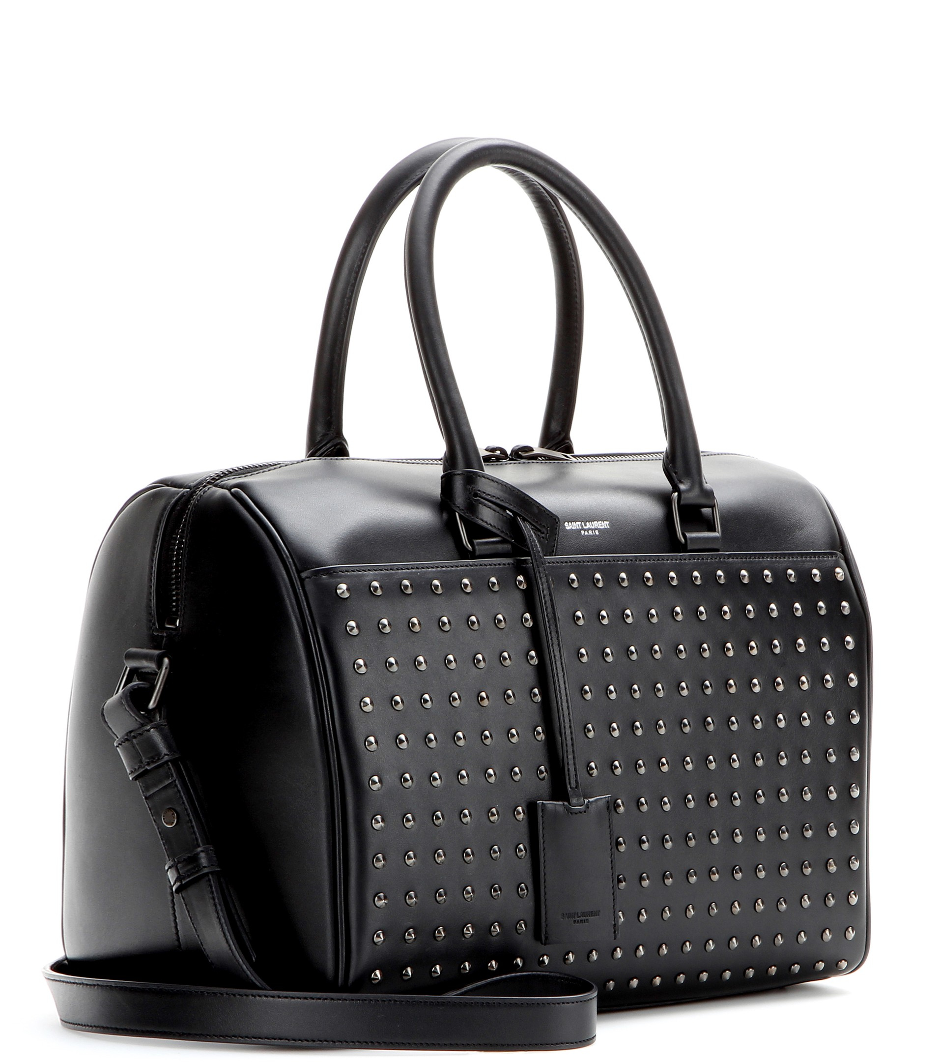 lyst saint laurent duffle 6 studded leather bowling bag in black. Black Bedroom Furniture Sets. Home Design Ideas