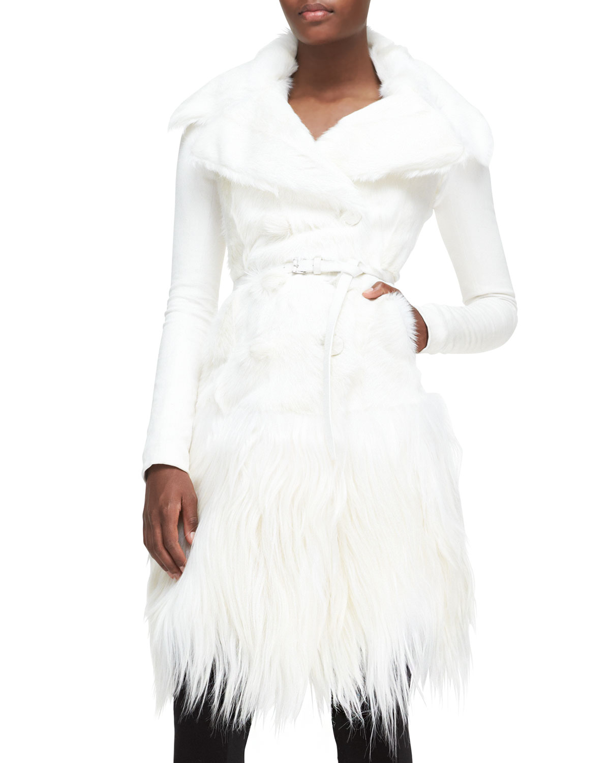Donna karan Long Belted Goat Fur Jacket in White | Lyst