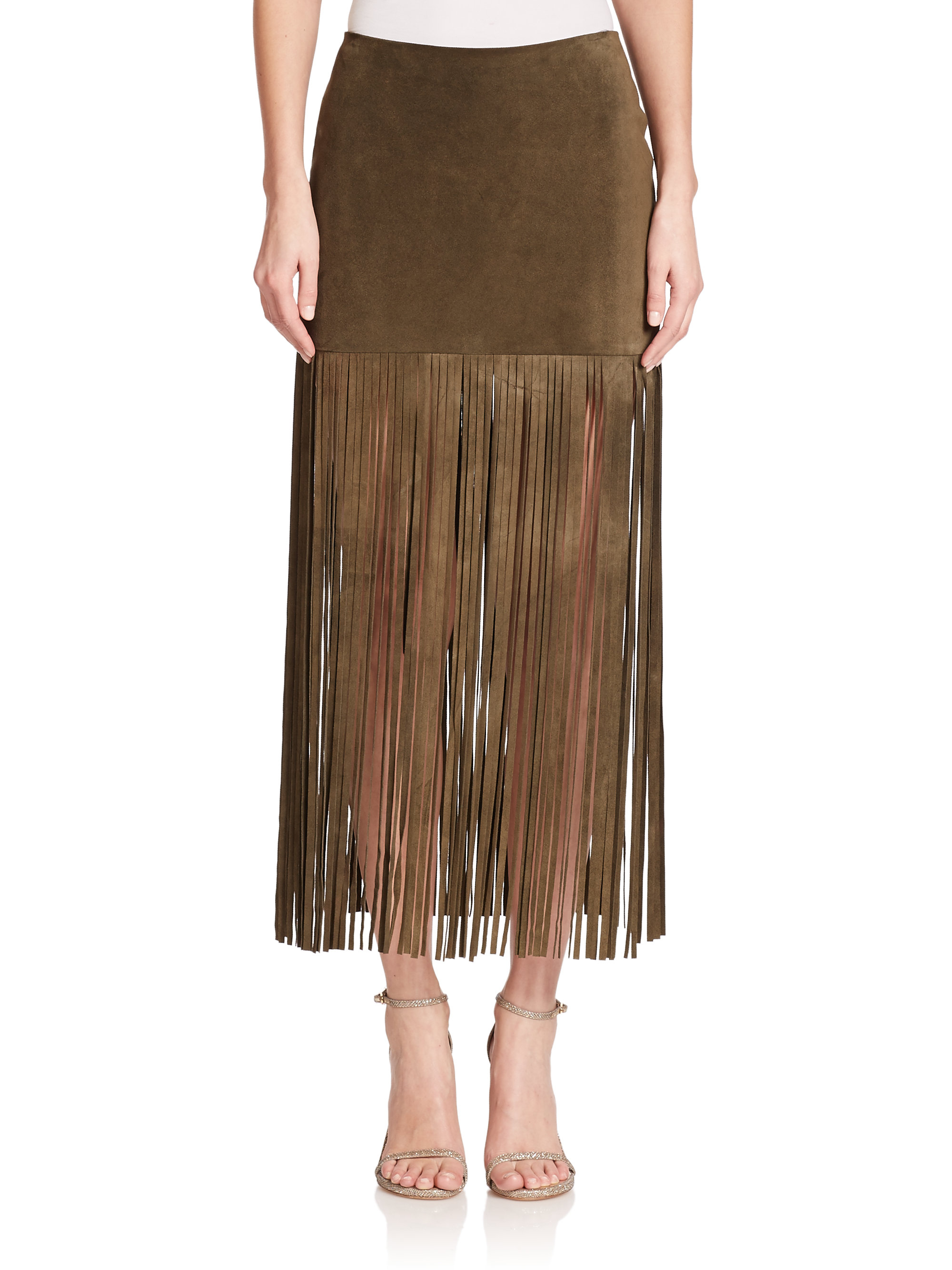 theperfext mini suede fringe maxi skirt in green lyst
