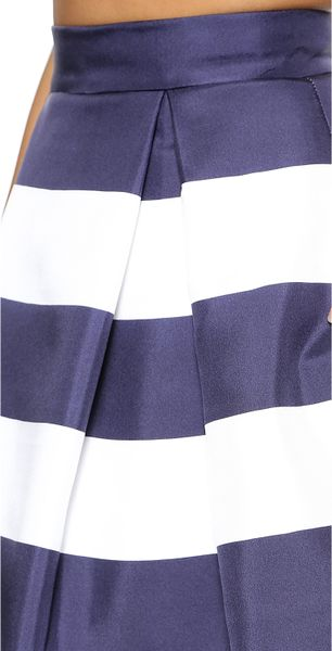 nicholas navy stripe silk skirt navy white stripe in