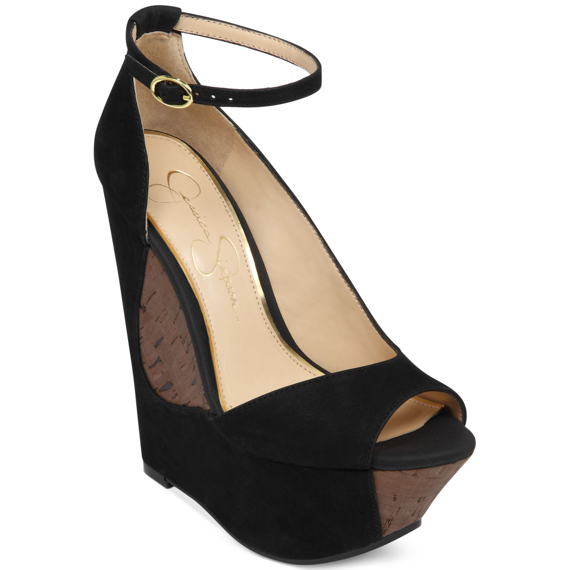 5f555ff59a6 Lyst - Jessica Simpson Maggey Ankle Strap Platform Wedges in Black