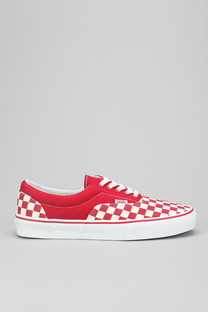 Lyst - Urban Outfitters Vans Era Checkerboard Mens Sneaker in Red ... 6faaa36d8