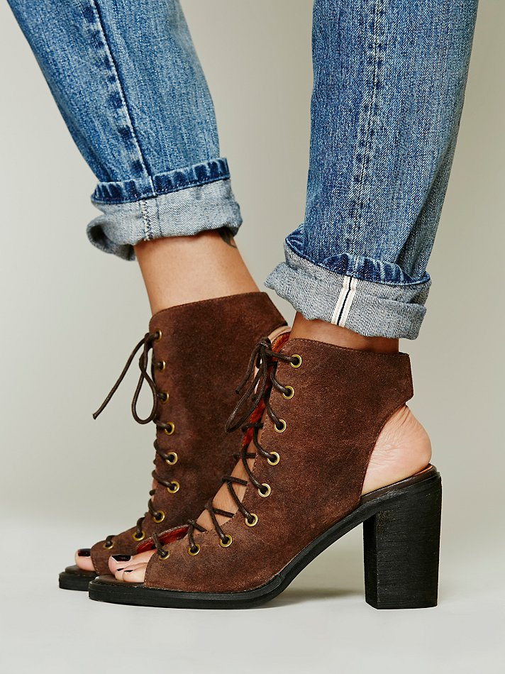 Lyst Free People Minimal Lace Up Heel In Brown
