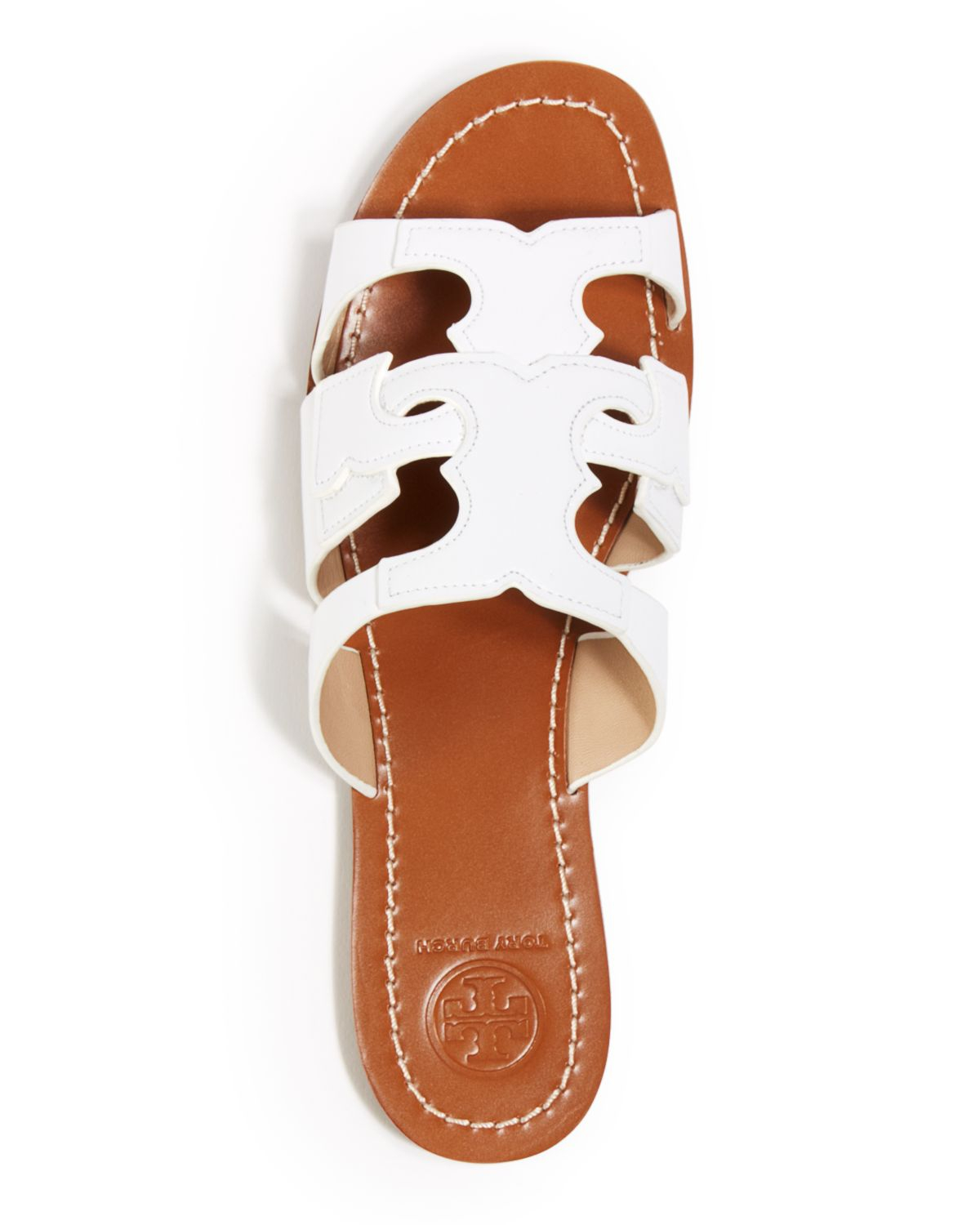 b7d1cadb243ac8 ... clearance lyst tory burch flat slide sandals anchor in red 09d4b 72142