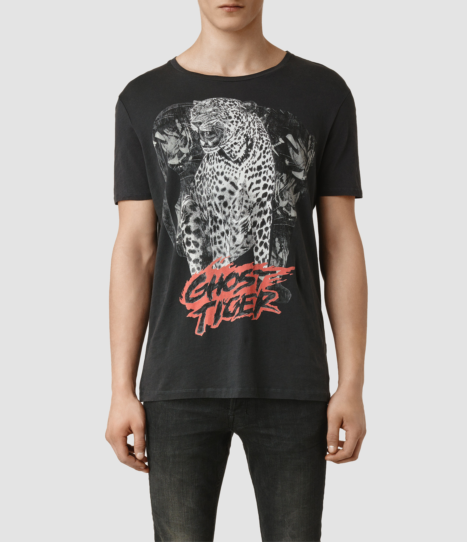 9121b0c09 AllSaints Ghost Tiger Crew T-Shirt in Black for Men - Lyst