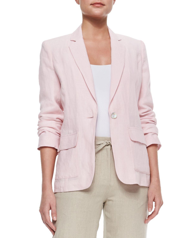 Neiman marcus Woven Linen Blazer in Pink | Lyst