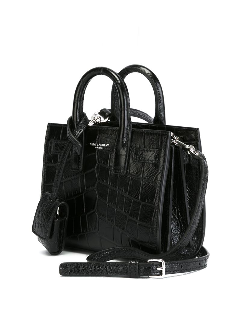 saint laurent toy 39 sac de jour 39 tote in black lyst. Black Bedroom Furniture Sets. Home Design Ideas
