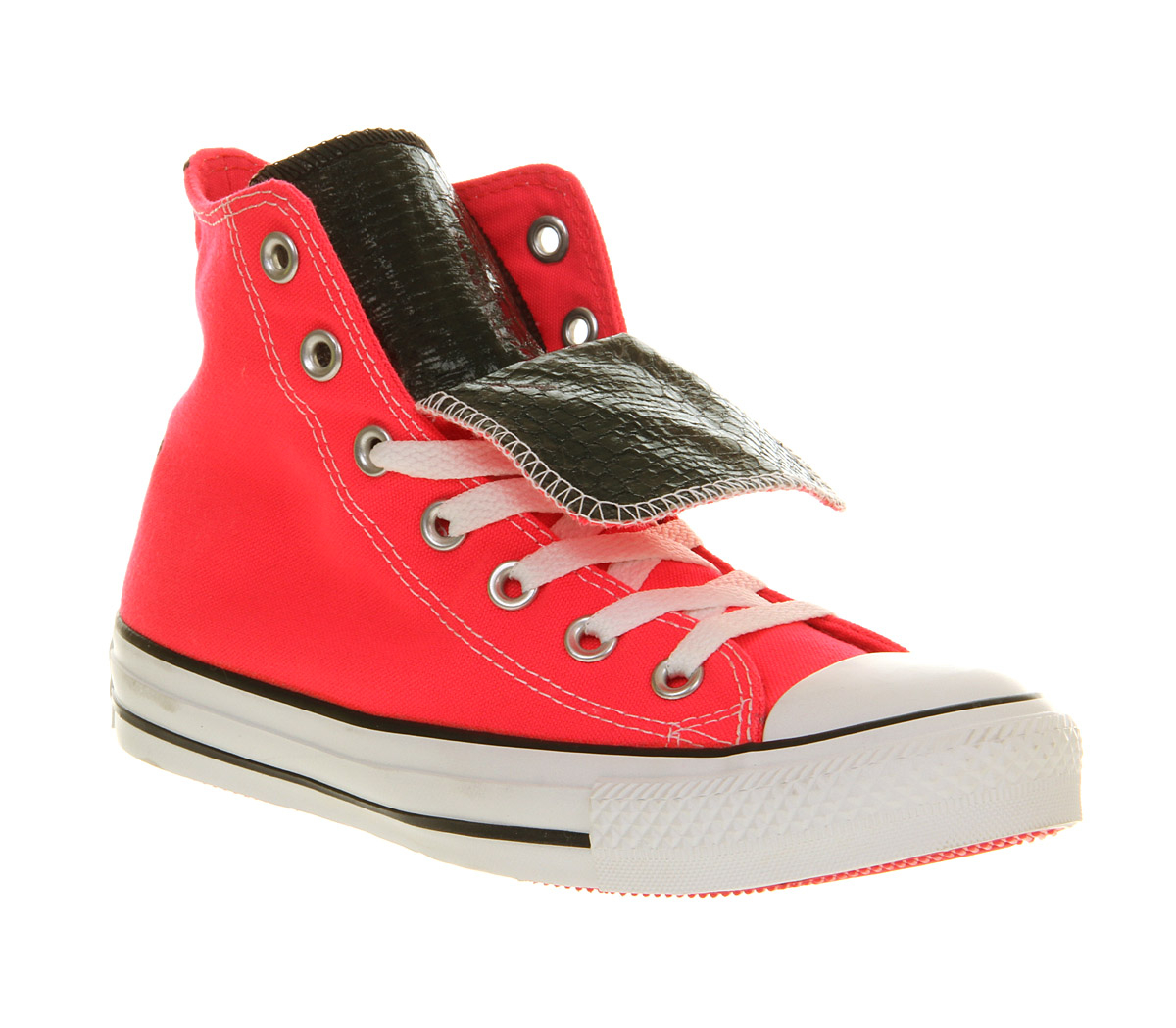 e6df02b9f6da58 Converse All Star Hi Double Tongue Neon Pink Snake Exclusive in Pink ...