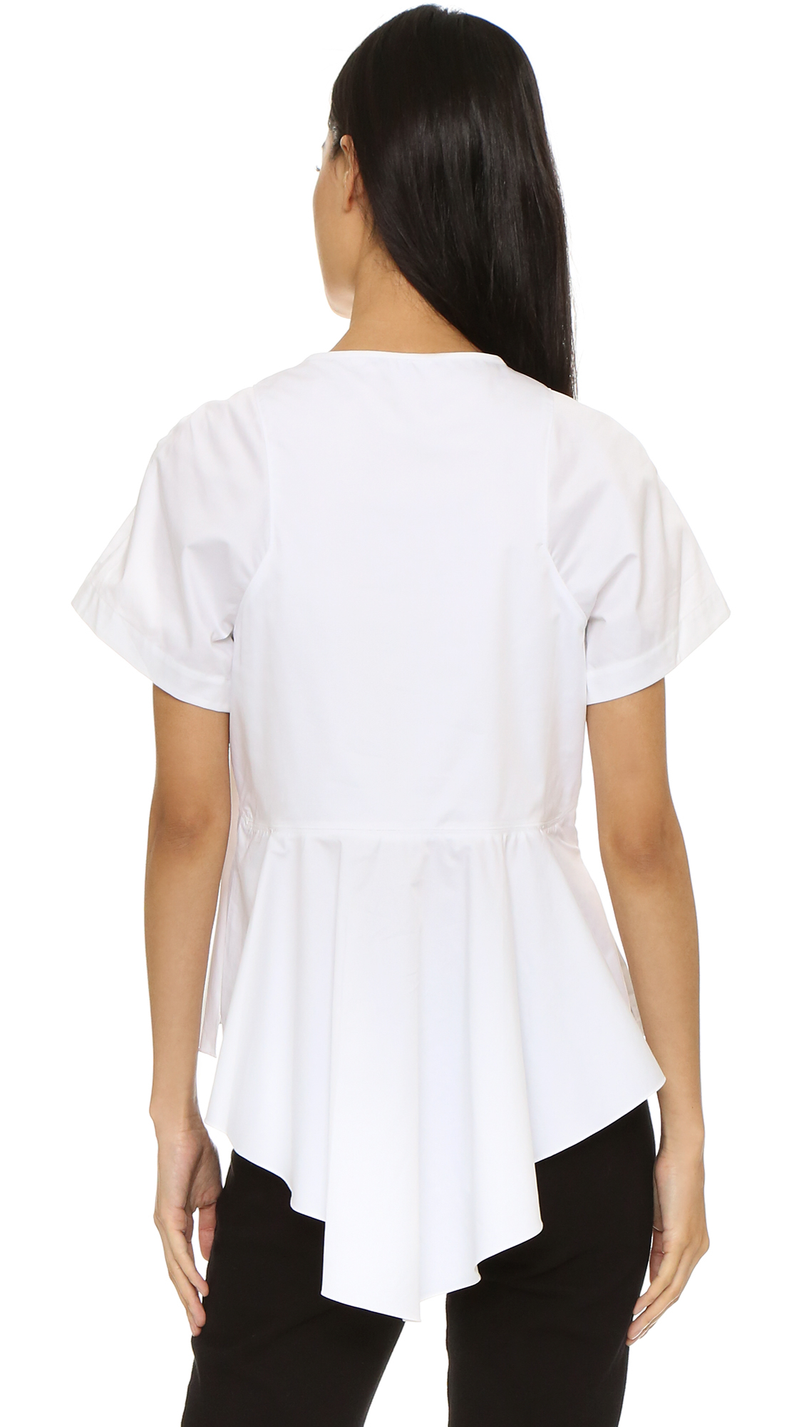 Lyst - Tibi Poplin Draped Top in White 7bcc01cac