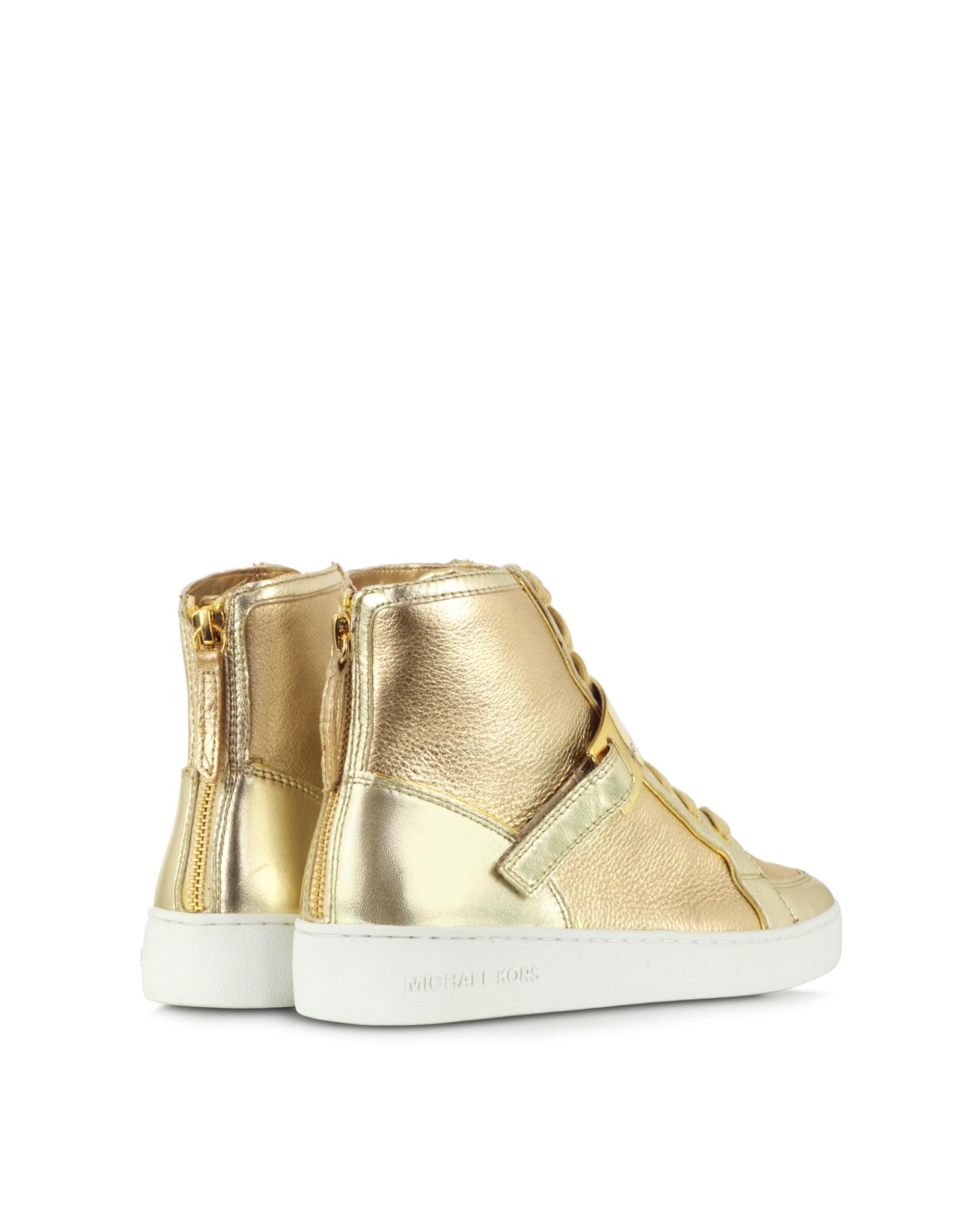 michael kors helen golden metallic high top sneaker in metallic lyst. Black Bedroom Furniture Sets. Home Design Ideas