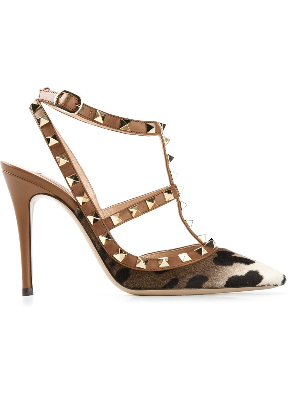valentino rockstud leopard print pumps in brown lyst. Black Bedroom Furniture Sets. Home Design Ideas