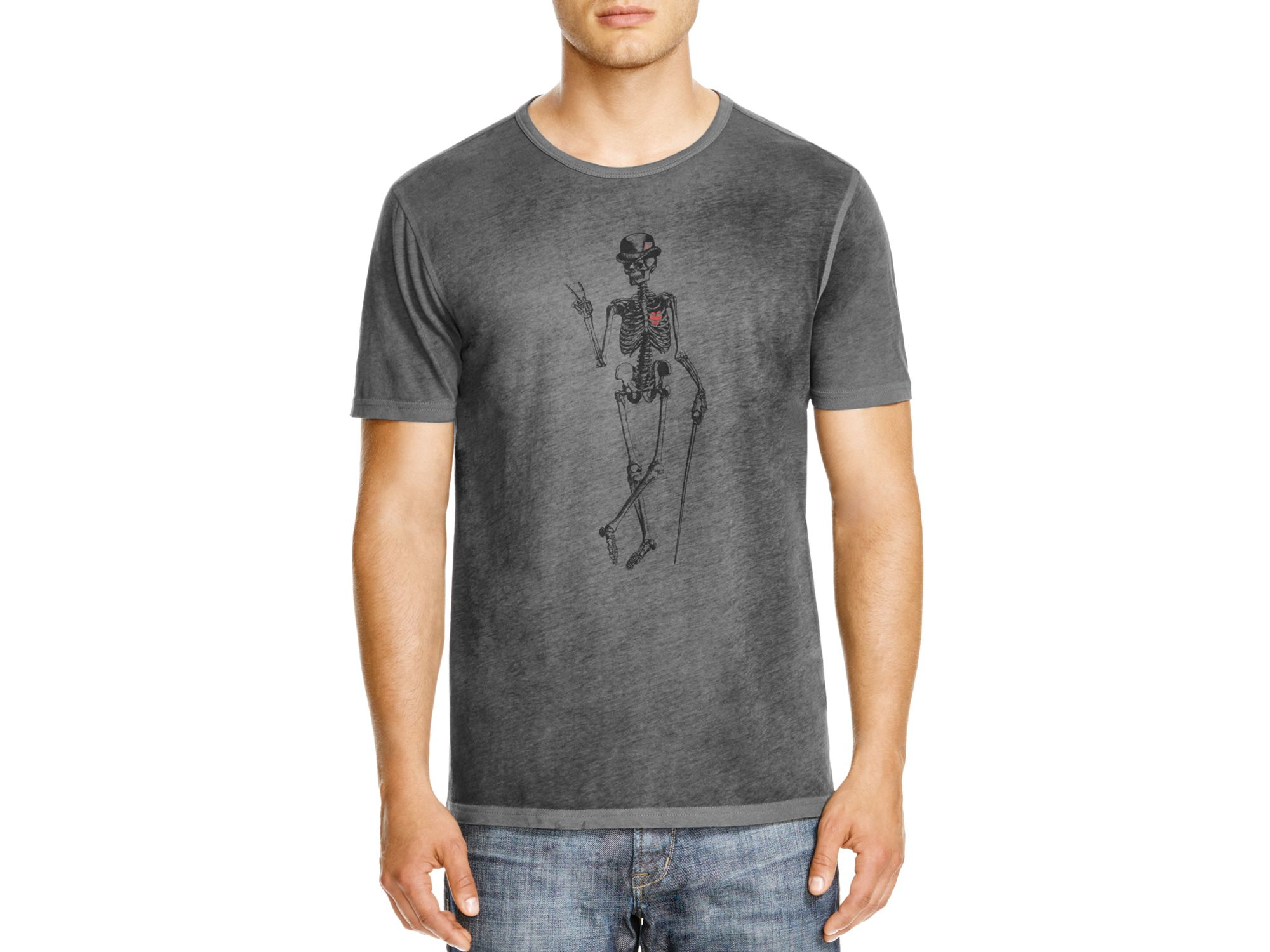 a22810f7 John Varvatos Star Usa Skeleton Peace Graphic Tee in Gray for Men - Lyst