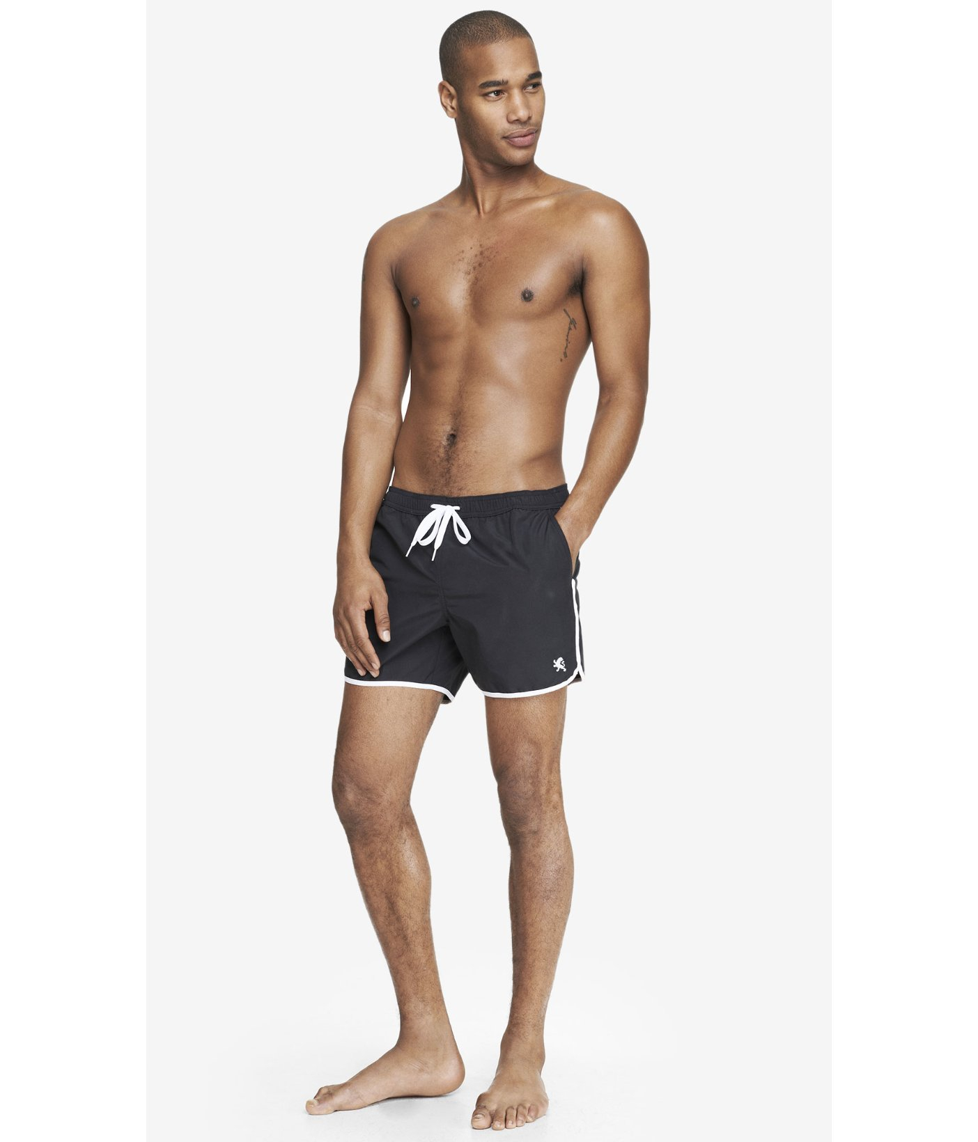 34bcadf643 Express Piped Athletic Swim Shorts in Black for Men - Lyst