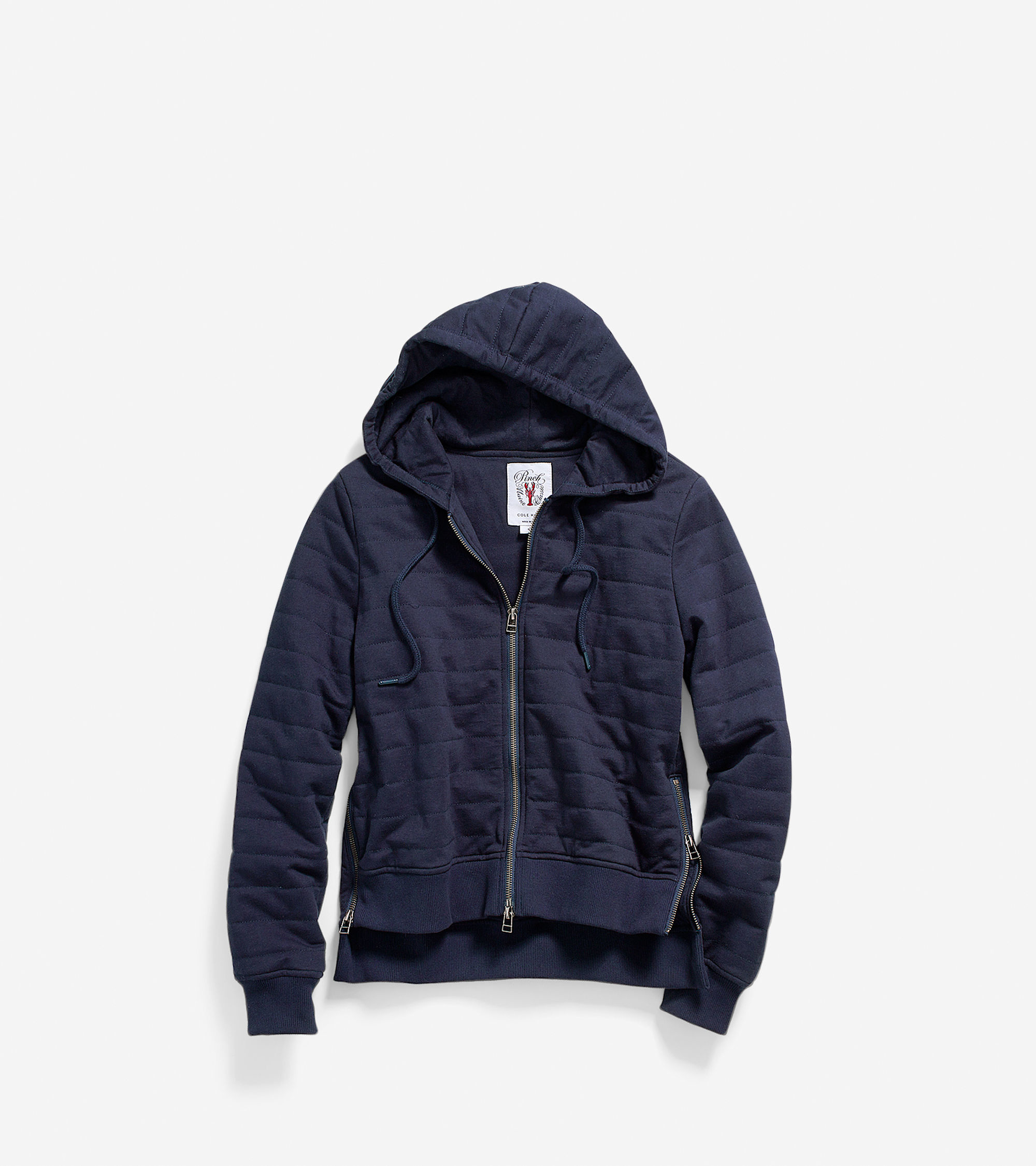Cole haan Women's Pinch Quilted Front Zip Hoodie in Blue | Lyst